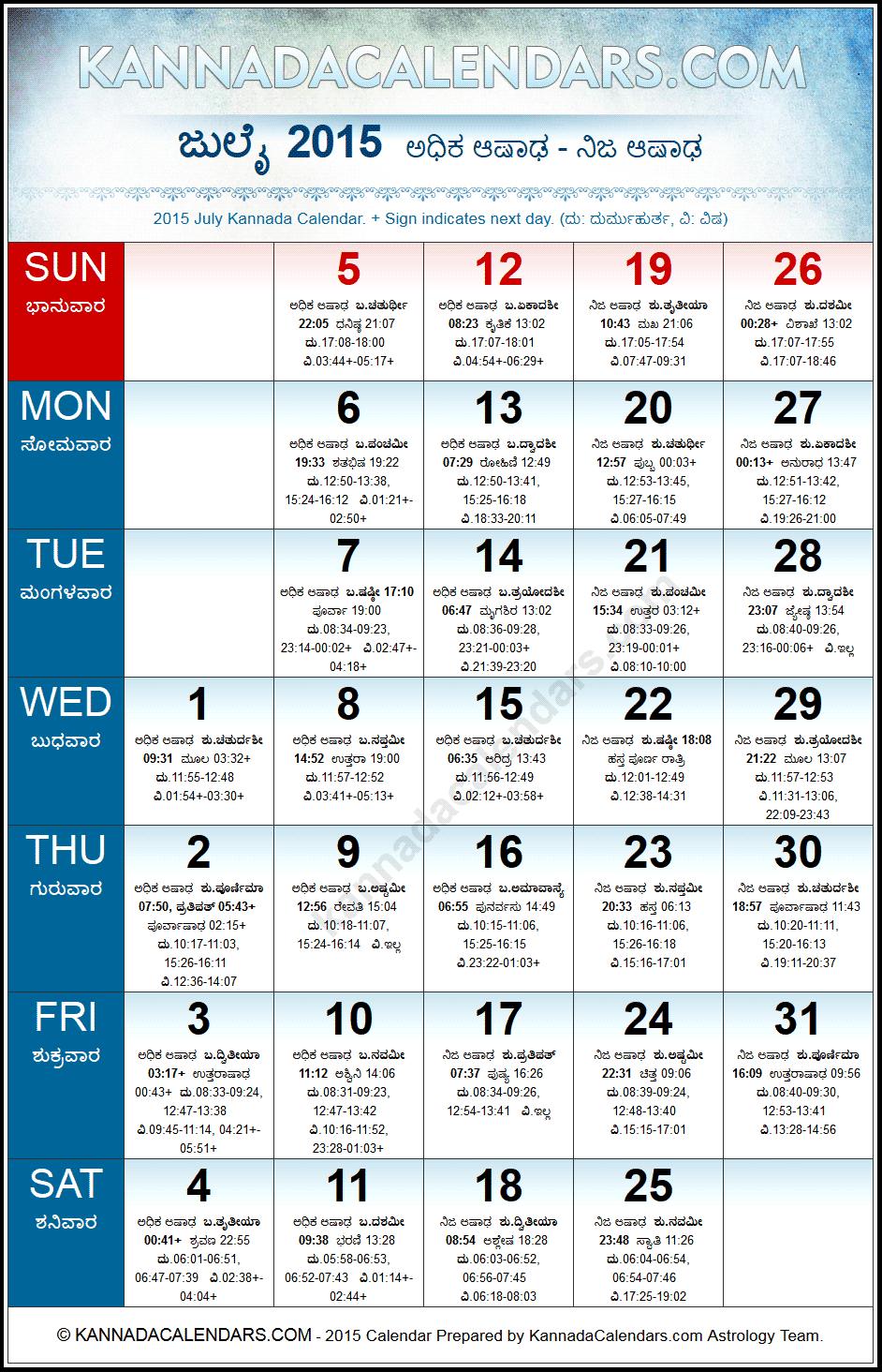 Tithi Calendar July 2015 July 2015 Kannada Calendar