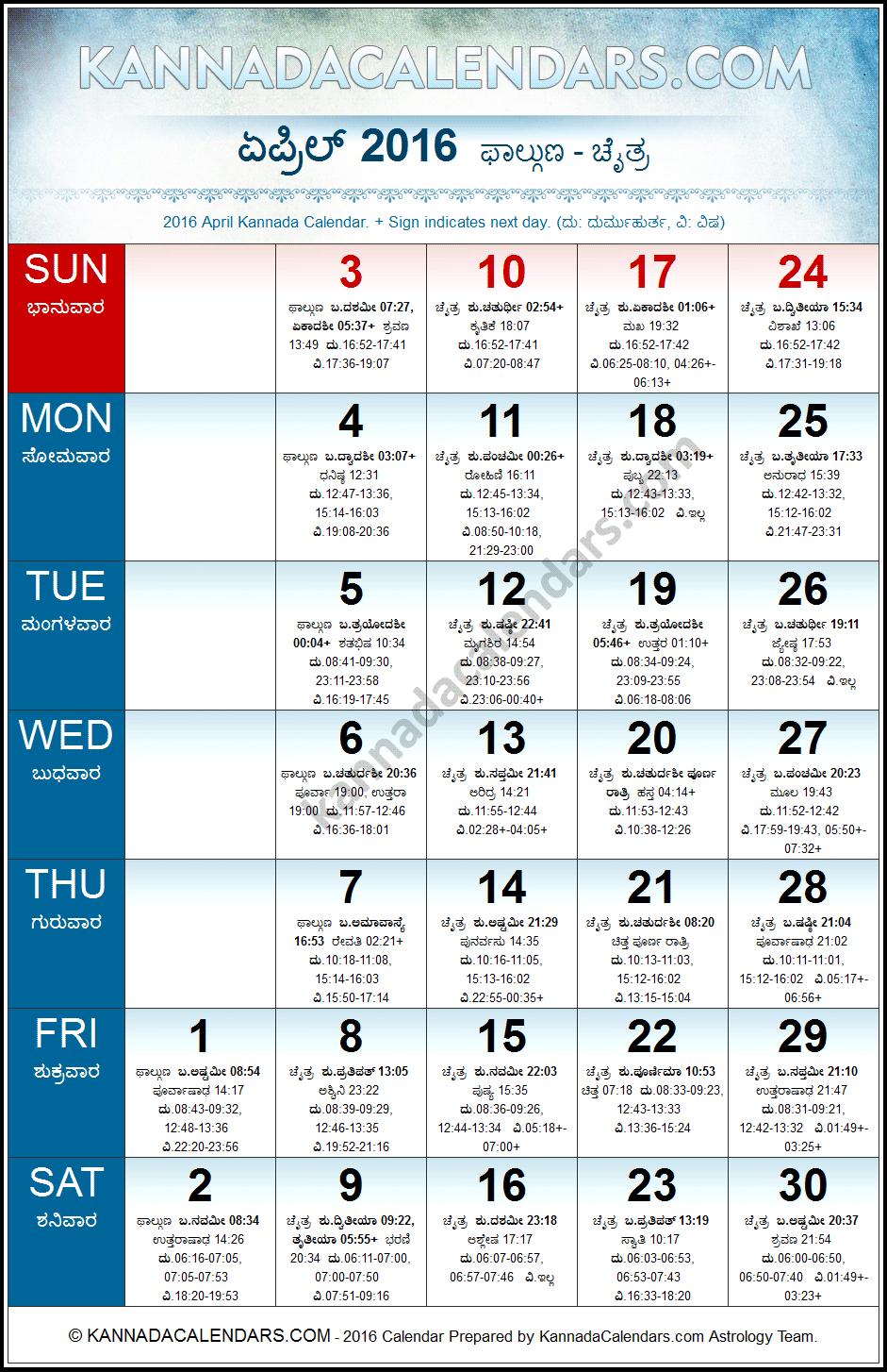 April 2016 Kannada Calendar | Durmukhi Nama Samvatsaram Calendar ...