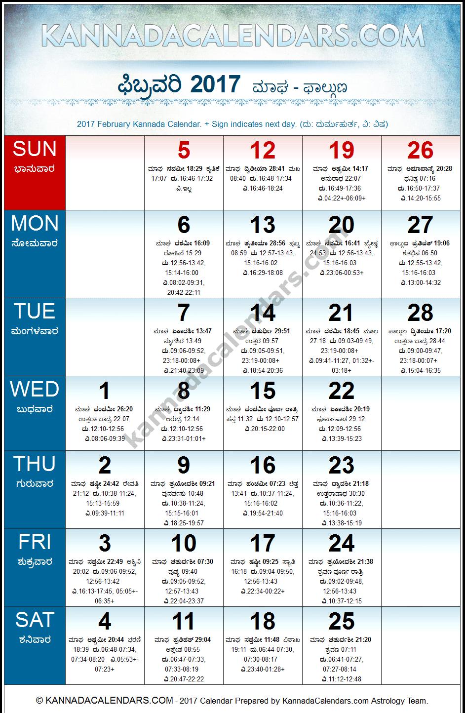 February 2017 Kannada Calendar | Durmukhi Nama Samvatsara Calendar ...