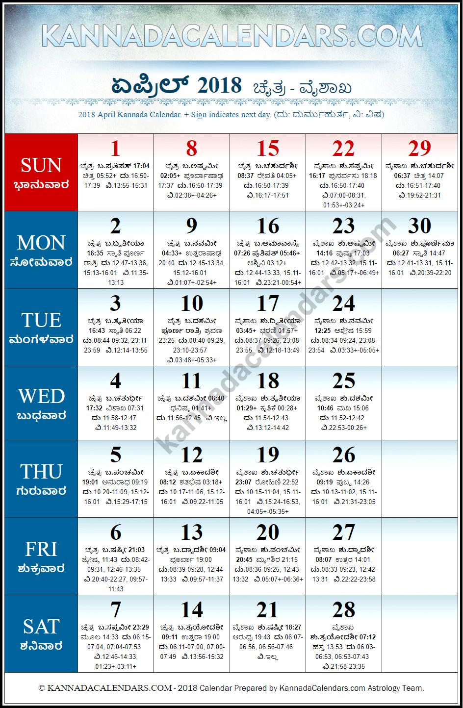 April 2018 Kannada Calendar | Vilambi Nama Samvatsara ...
