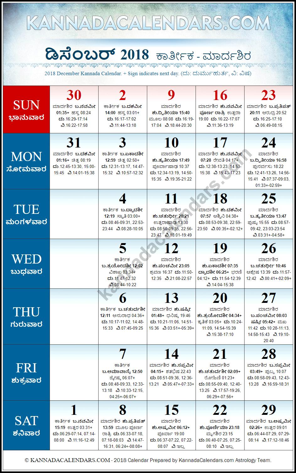 Kannada Calendar 2019 December December 2018 Kannada Calendar | Vilambi Nama Samvatsara Panchanga