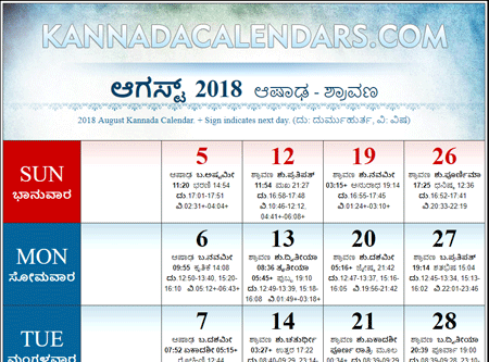 kannada calendar 2019 august