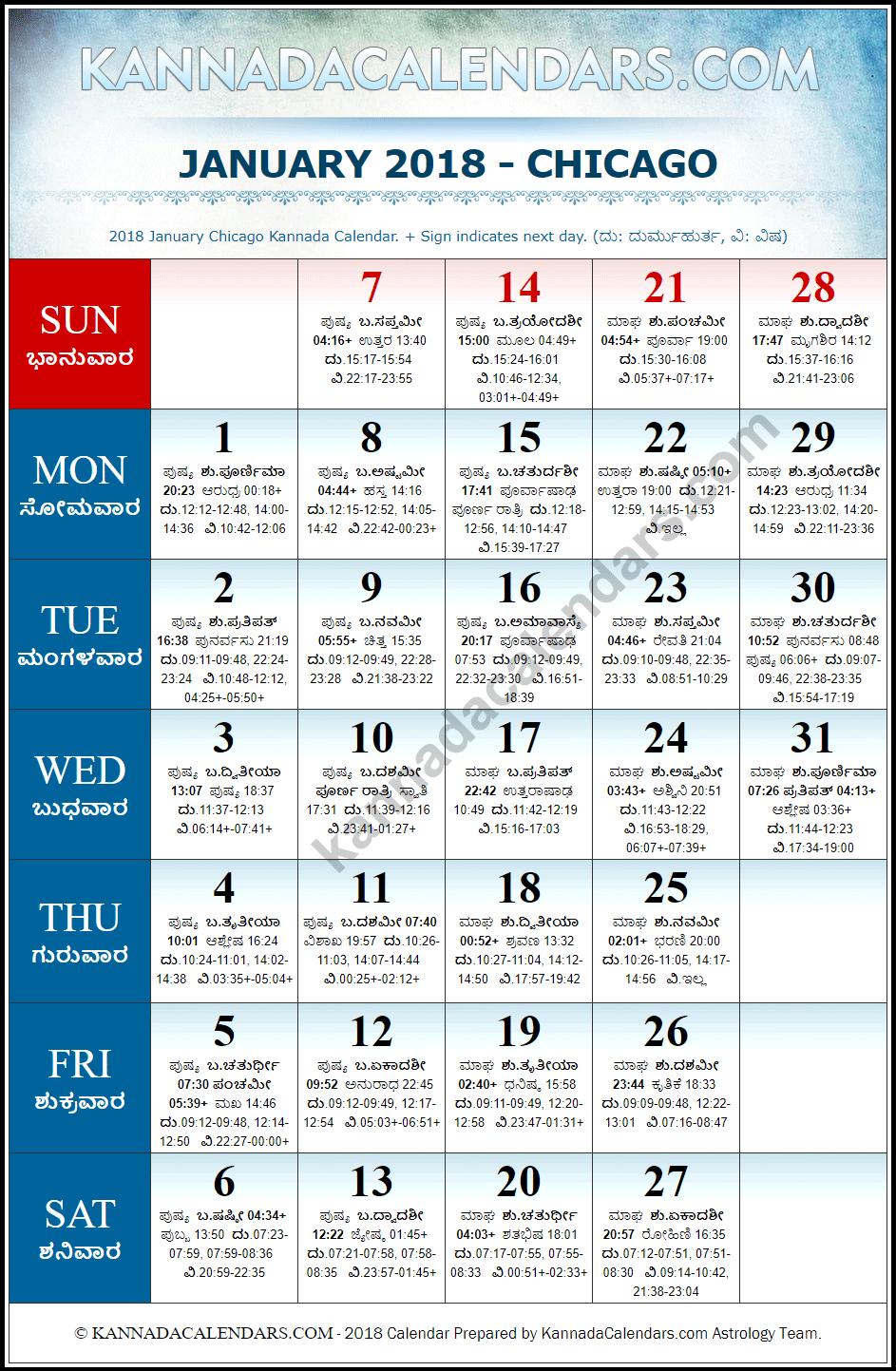 January 2018 Chicago Kannada Calendar | Download USA Kannada ...